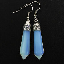 Opal Opalite Gemstone Hexagonal Reiki Chakra Healing Point Silver Charm Earrings