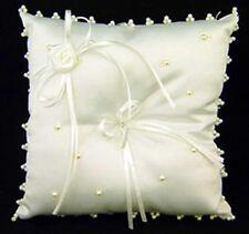 IVORY RING BEARER PILLOW ~ Satin Pearls Wedding Decor Flowers Bridal ~ ADORABLE!