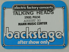 Talking Heads 1983 - Mann Music Center - satin backstage pass after show only
