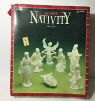 Vintage Sears Jade Porcelain Nativity 7 Piece Set Christmas Xmas With Orig Box