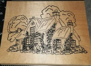 Stamps happen, flower covered county cottage,big,B42,wooden, rubber stamp