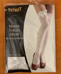 Spirit Halloween Thigh High Stockings Satin Bows Adult Womens Sexy Hosiery White
