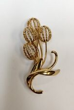 Napier Sterling Silver Gold Plated Cat Tail Plant Pin Brooch
