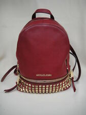 Michael Kors Cherry Pebble Leather Studded RHEA Backpack - Small