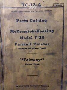 Farmall Regular F-20 Fairway Narrow Tractor Master Parts Manual TC-13-A 1947 IH