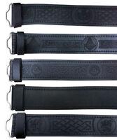 TC Scottish Black Leather Belt Masonic, Thistle Plain Kilt Belts without Buckle