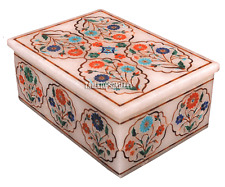 "5""x3.5""x2"" White Marble Jewelry Storage Box Mosaic Inlaid Marquetry Gifts H2261"
