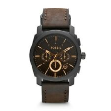 FOSSIL Watch FS4656 Men's Machine Mid-Sized Chronograph Leather Strap Brown