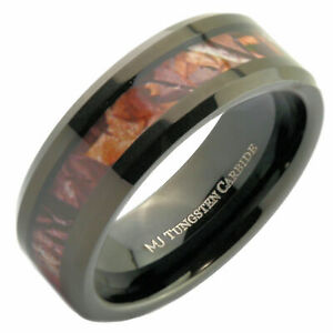 Tungsten Carbide 8mm Wedding Band Black Plated Camouflage Inlay Ring