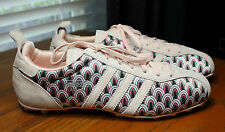 RETRO 2006 ADIDAS ANJA SOFT PINK SUEDE & PRINT CLEATS WOMENS SIZE 8 US WORN ONCE