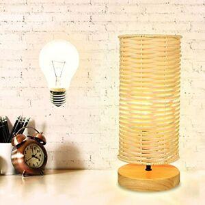 RattanBedsideTableLampBedroomRound Nightstand Lamp