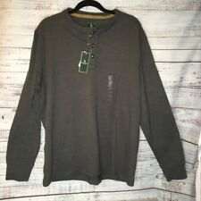 NWT G. H. Bass Gray Long Sleeve Carbon Henly Crew mens shirt  Brand new with tag