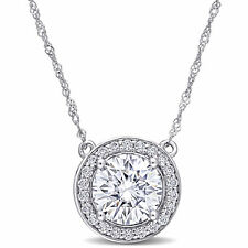 Amour 10k White Gold  2 CT TGW Moissanite Classic Halo Necklace