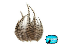 1 Dozen - SHORT TAN Grizzly Rooster Feathers