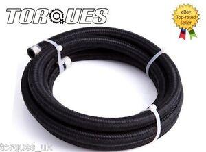 "AN -6 (8mm) 5/16"" Black Nylon Braided Fuel Hose 1 Meter"