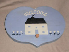 Collectible Plaster Cast  Blue, Country, Handmade Welcome Plaque  Americana