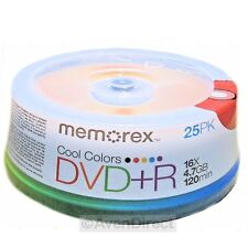 100 New Memorex 16X Cool Color 4.7GB DVD+R Plus R [FREE USPS Priority Mail]