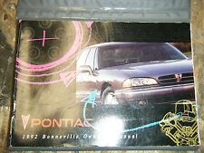 1992 PONTIAC BONNEVILLE FACTORY OWNERS MANUAL OPERATORS BOOK