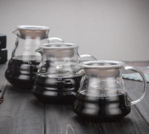 1x Clear Glass Coffee Pot Tools Cafe Barista Heat Resistant Teapot Minimalist