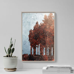 """Abstract Art Print """"PINE TREE"""" Glossy Photo Poster Gift Forest Texture Grunge"""