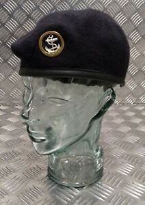 Genuine British Royal Navy Issue Dark Blue Navy Service Beret With Badge Ratings