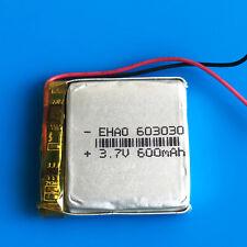 3.7v 600mAh 603030 Lipo Battery for MP3 DVD GPS Headphone Recorder Bluetooth PSP