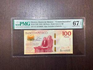 Mexico Banco de Mexico Commemoative Pick 130b 2016 100 Pesos PMG 67 EPQ