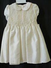 Bonnie Jean Toddler Smocked Dress Short Sleeve Ivory Size 4T  #U9692