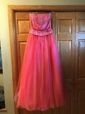 LE GALA MON CHERI CORAL STRAPLESS FORMAL DRESS PROM SZ 4 ***FREE SHIPPING***