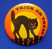 Russ BUTTON PIN Halloween Vintage CAT Black MOON Trick Treat Hoilday PINBACK