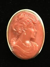 Antique Red Coral Cameo 18k Yellow Gold Pendant Brooch Pin Rare