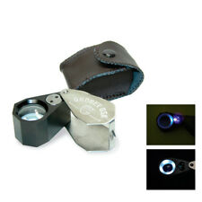 Grobet USA 10X Illuminated Jeweler's Loupe with LED and UV Light w/Leather Case