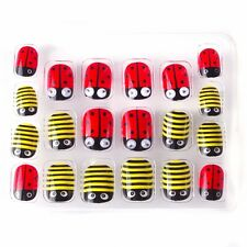 Christmas Ladybug Kawaii Children False Nails 20 Pcs Pre-glue Press on