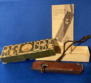 "Vintage Gerber 5"" Sportsman's Steel Knife Sharpening Hone W Leather Cover Sheath"