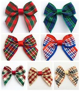 4cm Wide Tartan Pre-Tied Bows (15mm Wide Ribbon) Check Red Embellishment Crafts
