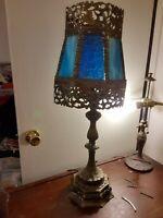 "Antique Brass blue glass Table lamp, 29"" tall, Slag Pebble Glass,"