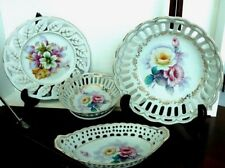 Occupied Japan Hand-Painted Flowers pierced China set of 4 Vtge Pieces Gold Trim