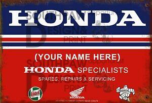 Vintage Personalised Honda CB CBR Gold Wing Service Medium Sized Tin Sign