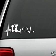 K1046 My Kids Dog & Cat Heartbeat Dog Decal Sticker Car Truck SUV Van LAPTOP Art