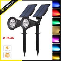 2 Pack Solar Power Spot Light Outdoor Garden Landscape Waterproof Path LED Lamp