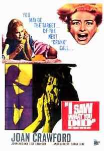 I Saw What you Did 1985 B&W Horror -  Joan Crawford, John Ireland, Leif Erickson
