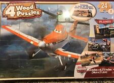 "NEW! Disney Cars  ""Planes""  Wooden Puzzle - 4 Different Puzzles with Storage Box"