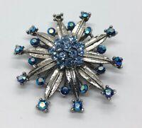 Vintage Brooch Pin Rhinestone Snowflake Cluster Aurora Borealis Blue Silver Tone