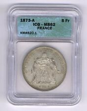 FRANCE  1873-A  5 FRANCS SILVER COIN, UNCIRCULATED, ICG CERTIFIED MS-62