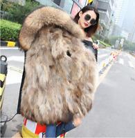 2018 winter women real fox fur coats fashion long Slim Large fur collar jackets