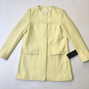 NWT Zara Basic Collection Lemon Yellow Collarless Coat, Size XS RRP $139 FLAW