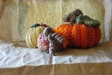 Set of 3 hand crochet pumpkins fall home decor Thanksgiving centerpiece