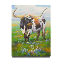 NY Art - Texas Longhorn Standing Tall 36x48 Oil Painting on Canvas - On Sale!