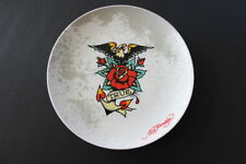 Ed Hardy Collectible Round Dish True Love Rose Tattoo Eagle Spread Wings Hearts