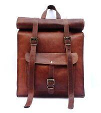 Roll Top Backpack / Rucksack Rolling Bag travel Bikers Bag in genuine leather